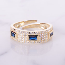 20-49182 ANILLO TRES BAGUETTES AZUL  AJUSTABLE