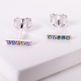 20-4951 STUDS BARRA MINI COLORES EN  PLATEADO