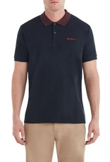 Ben Sherman Checkerboard Collar Polo Midnight