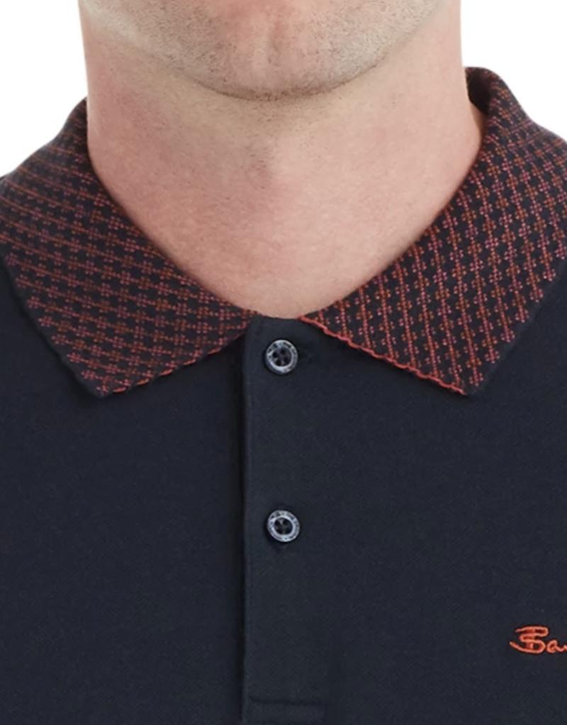 Ben Sherman Checkerboard Collar Polo Midnight