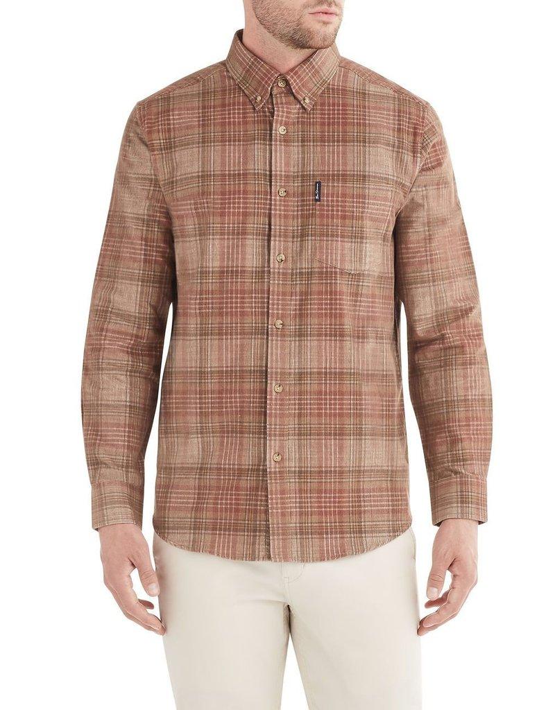 Ben Sherman LS Tonal Cord Plaid Shirt Terracotta