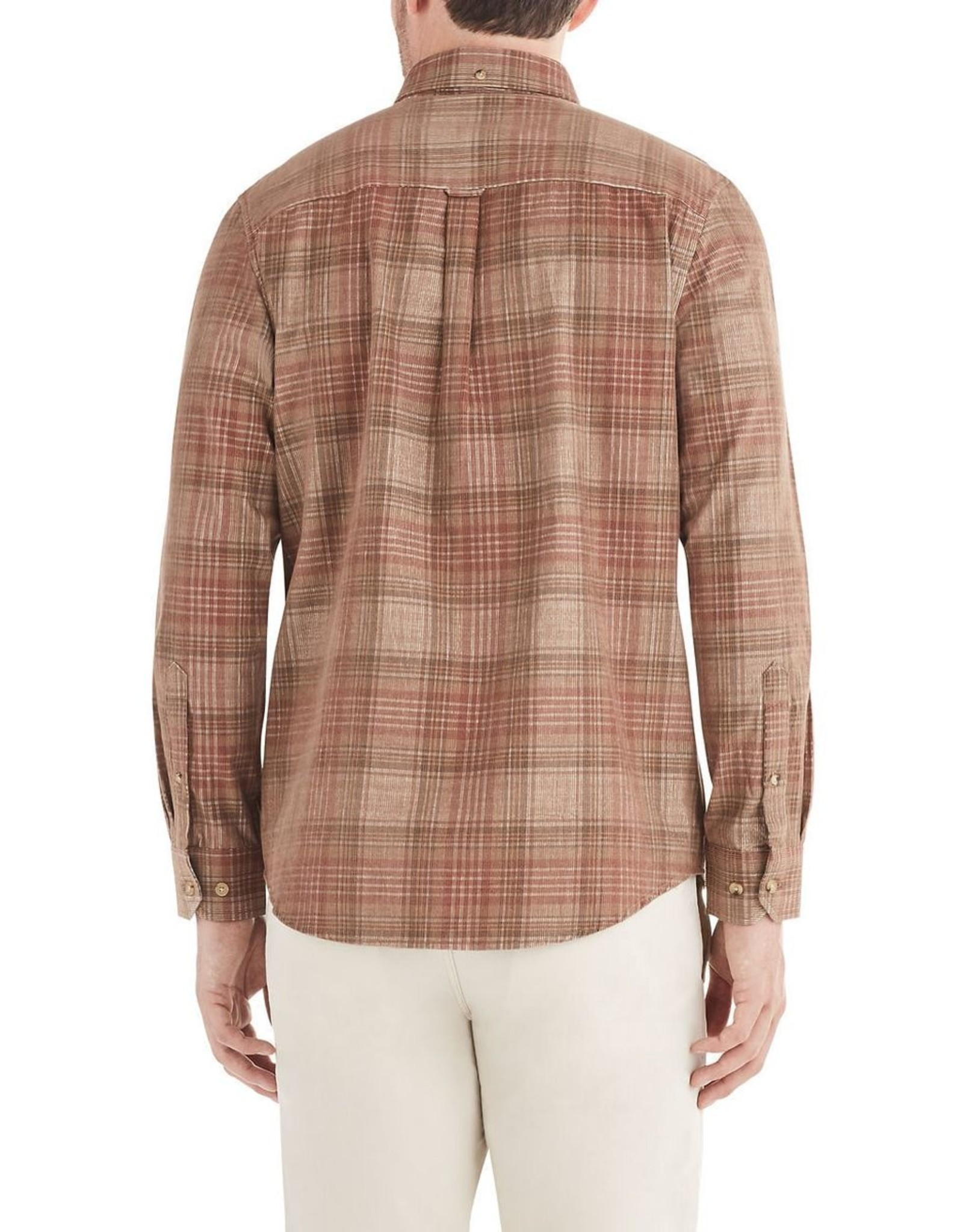 Ben Sherman LS Tonal Cord Plaid Shirt Terracotta
