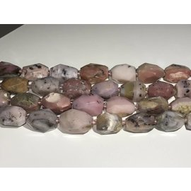 Pink OPAL Nuggets 25 x 15mm Faceted Oval 1/2 Str