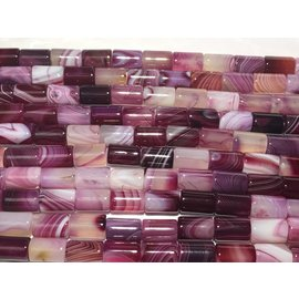 AGATE Banded Dyed Dark Pink 8x12mm Columns