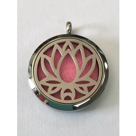 Stainless Steel Lotus Flower Diffuser Locket +5 Oil Pads