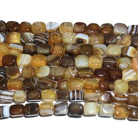 AGATE Banded Dyed Brown 10x8mm Cuboid Nugget