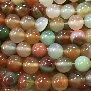 AGATE Banded Red/Green 8mm Round