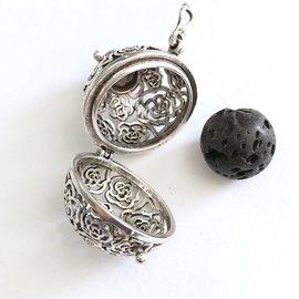 Tibetan Silver 27mm Diffuser Locket w/14mm Black Lava Bead