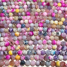 Natural Fire AGATE Opaque Pastel 8mm Faceted