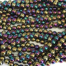 Electroplated Hematite Multi-Colour 8mm Round