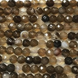 Banded AGATE Dyed Sienna 4mm Faceted
