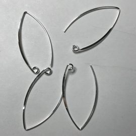 Sterling Silver Marquis Earwire 34mm 6pcs