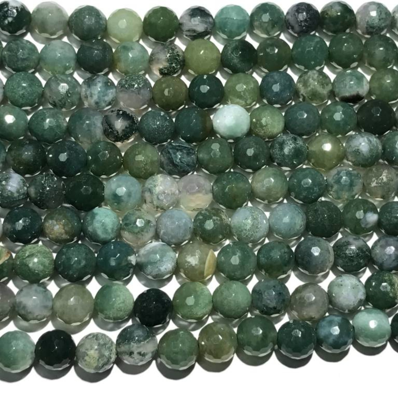 Natural AGATE Moss 8mm Faceted