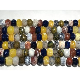 AGATE Assorted Colours 10x14mm Faceted Rondelles