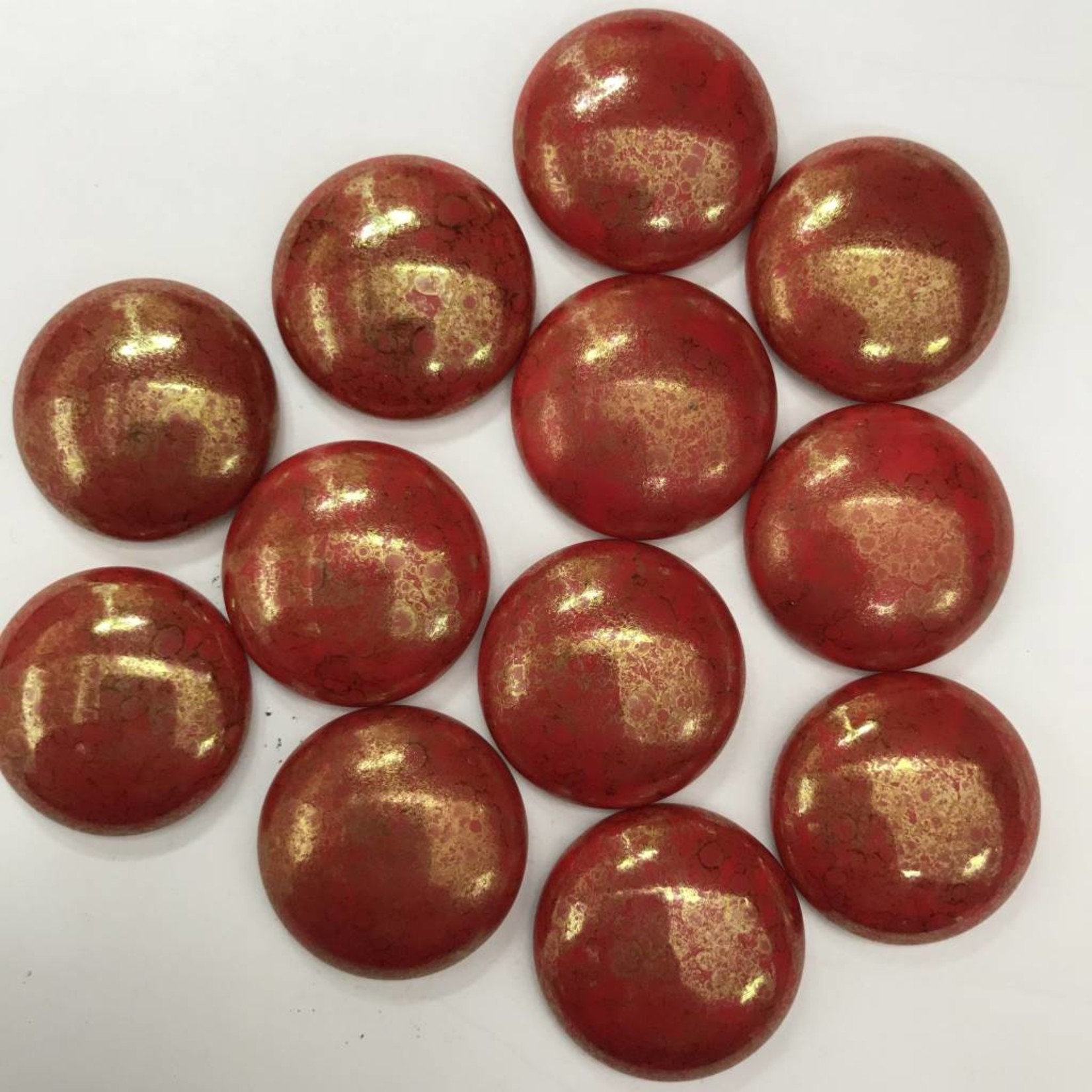 Czech Red Coral LUMI Cabochon 24mm Round