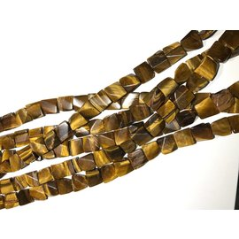 Tiger Eye Twisted Rectangle Beads 15 X 15mm