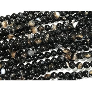 Natural Banded AGATE Black 8mm Round