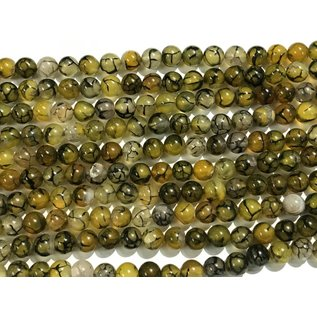 AGATE Dragons Vein Olive 8mm Round