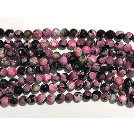 AGATE Fire Pink/Black 8mm Faceted