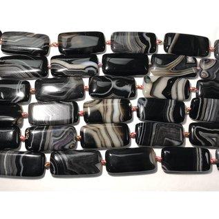 AGATE Black Natural Rectangle 40x20mm 1/2 Strand