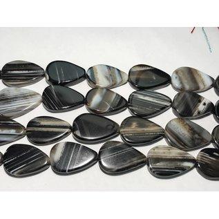 AGATE Black Striped Flat Teardrops 31mm 1/2 Str
