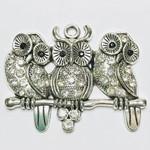 Tibetan Alloy Owl Rhinestone Pendant  43x58mm