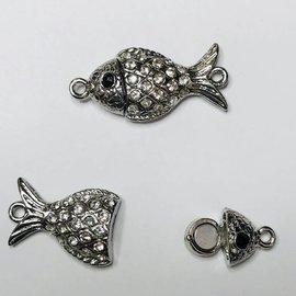 Mag Silver Alloy Fish CLASP Rhinestone 38x17mm