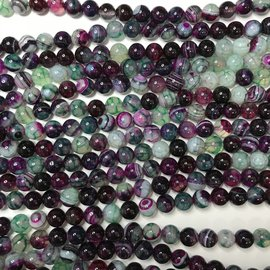 AGATE Banded Purple/Green 8mm Round