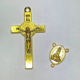 Gold Plate Rosary Cross & Centre Set 52x20mm