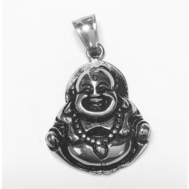 Stainless Steel Smiling Buddha Pendant 33mm