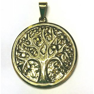 Gold Plated Stainless Steel Tree of Life Pend. 44mm