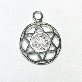 Sterling Silver Flower of Life Mini Charm 15mm