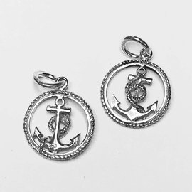 Sterling Silver Anchor Mini Charm 16mm
