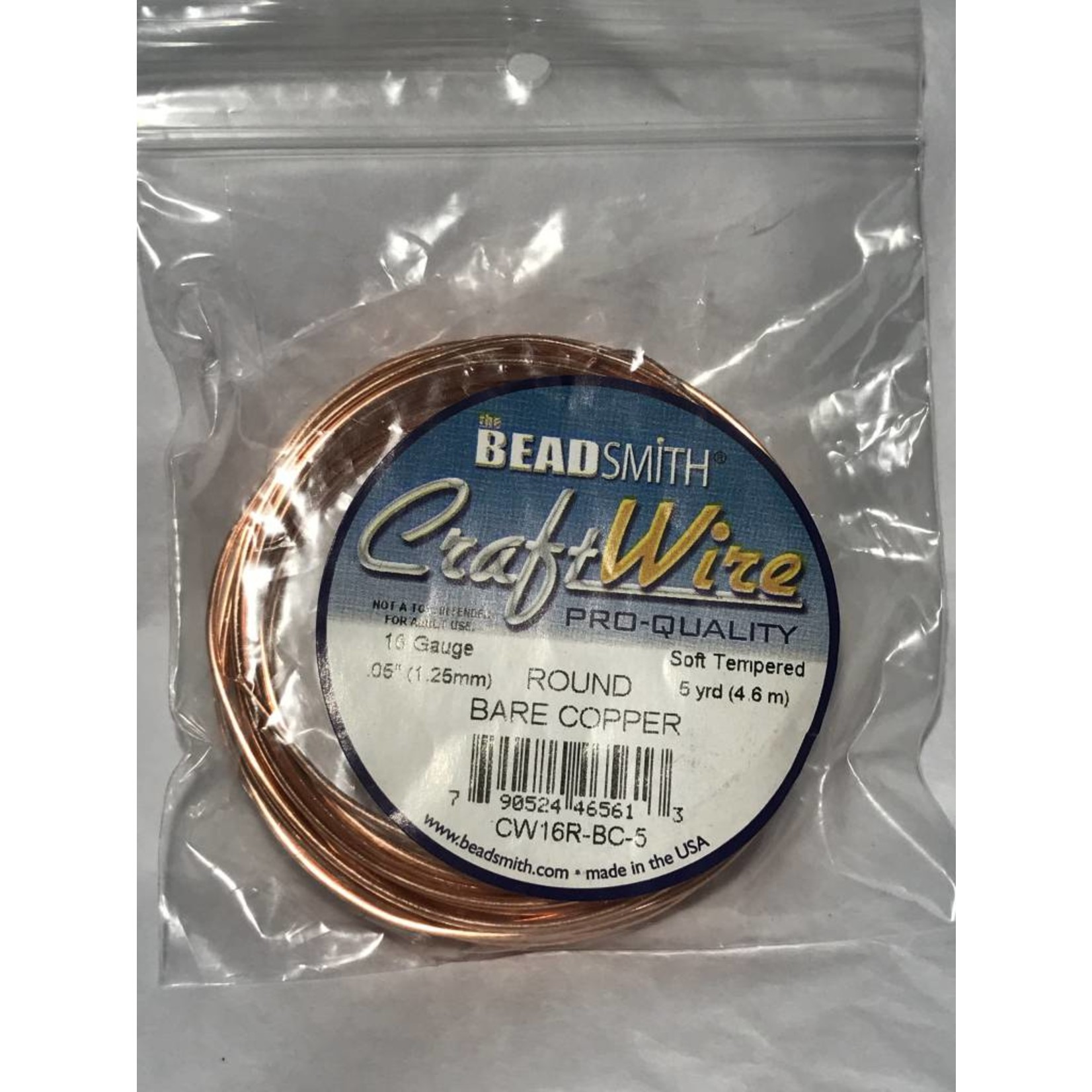 Bare Copper Wire - 16 Gauge Round 5 Yards