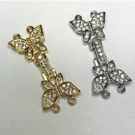 Silver Plated CZ 2-Hole Fold CLASP