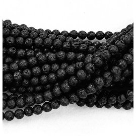 BLACK LAVA Stone Natural 6mm Round