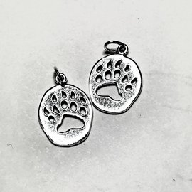 Sterling Silver Bear Paw Mini Charm 14 x 12mm
