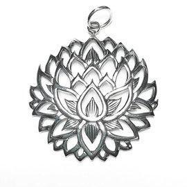 Sterling Silver Lotus Flower Pendant 39mm