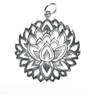 Sterling Silver Lotus Flower Pendant 39mm Atlantic Bead Company