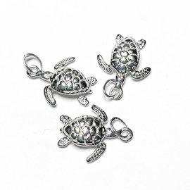 Sterling Silver Sea Turtle Mini Charm 13 x 12mm