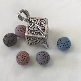 Tibetan Silver Alloy Diffuser Locket w/5 D-Beads