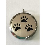 Stainless Steel Paw Prints Diffuser Locket +5 Oil Pads