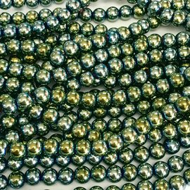 Electroplated Hematite Green 6mm Round