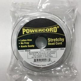 POWERCORD Strech Cord Black 1mm @ 75ft/pkg