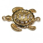 Gold Plated Rhinestone Turtle Magnetic Clasp
