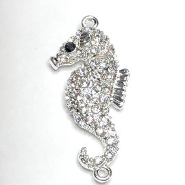 Silver Plated Rhinestone Sea Horse Magnetic Clasp