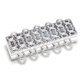 Silver Plated 5-Hole Magnetic Clasp 15 x 35mm