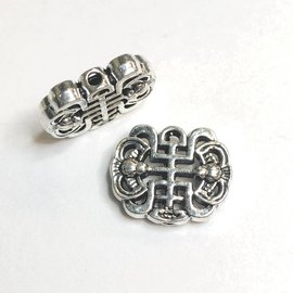 Chinese Longevity Knot 18 x 14mm Alloy Bead 8pcs