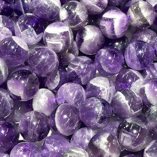 Chevron Amethyst Natural 8mm Round