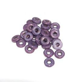 Czech O Beads Chalk White Lilac Vega Luster 5g